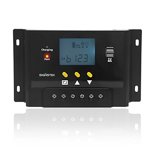 Signstek Solar Panel Regler Laderegler 12V / 24V 240W/480W 60A PWM LCD Display mit Dual USB Batteriesteuerung automatische Einstellung des Schalters Überlastschutz für Camper / Wohnwagen / Boot