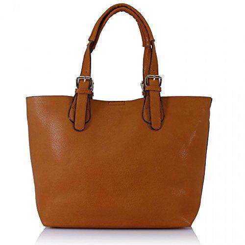 LeahWard Damenmode Desinger Qualität Shopper Bag Taschen Damen modisch meistverkauft Handtaschen Groß Größe Tasche CWS00297 BROWN GRAB BAG