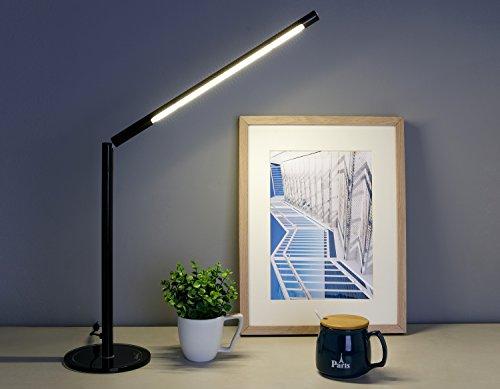 LIHAO LED Tischlampe Dimmbar Warmweiß 5W Schreibtischlampe 48 SMDs + CE geprüfter Netzteil (Schwarz)