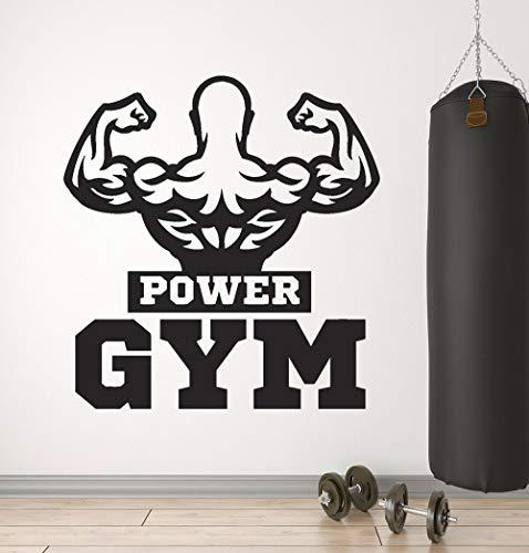 wukongsun Gym Vinyl Wandtattoo Stärke Muskel Schöne Bodybuilder Logo Aufkleber Abnehmbare Wanddekoration Aufkleber 63cmx66cm
