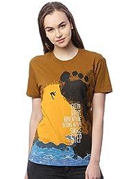 Wolfpack Outdoor Adventure Greenish Brown Round Neck Half Sleeves 100% Cotton Girls/Womens T Shirts for Adventurous Folk