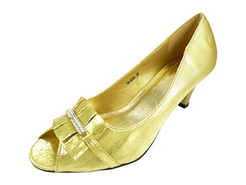 Chaussures de soirée ouvertes devant satin Doré