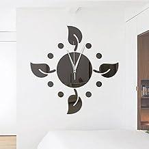 Lxlnxd Diy Wanduhr Blätter Nadel Spiegel Uhren Digital Große Dekorative  Wanduhren Modern Design Selbstklebend Wecker