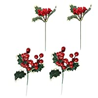 VOSAREA 4pcs Artificial Berries Picks Christmas Plants Picks with Red Holly Berries Leaves for Xmas Flower Arrangements Wreaths Holiday Decorations