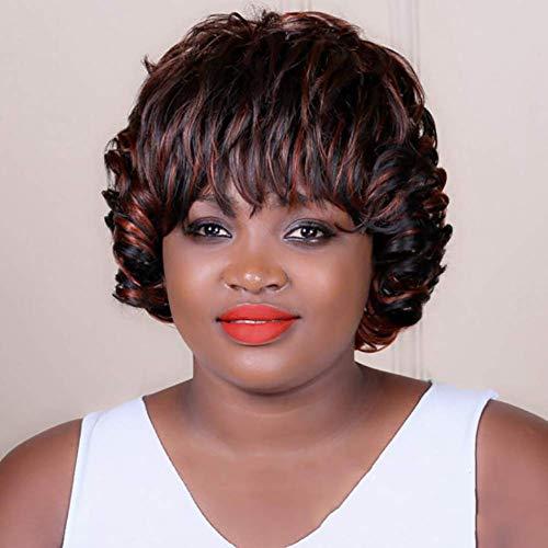FMEZY Kurze Lockige Rote Haare Perücken für Afroamerikanerschwarze Frauen Synthetische Afro DeepCurly Haar Cosplay Halloween Perücke 8