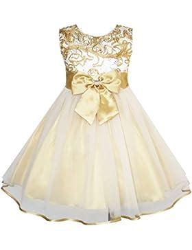 Sunny Fashion - Vestito tinta unita, bambina, giallo