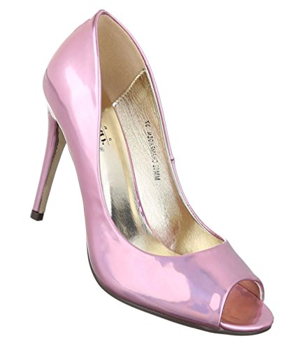 Damen Pumps Schuhe Elegant High Heels Peep Toe Rosa