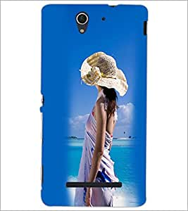 PrintDhaba Hat Girl D-2445 Back Case Cover for SONY XPERIA C3 (Multi-Coloured)