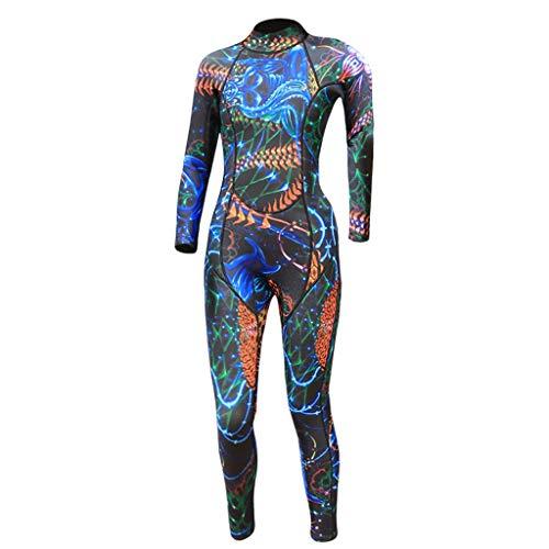 LOPILY Damenmode Neoprenanzug Surfbekleidung Wetsuit Drucken UV Schutz Sonnencreme Taucheranzug Wassersport Anzug Schlankheits Schnelltrocknend Badeanzüge(Blau,M)