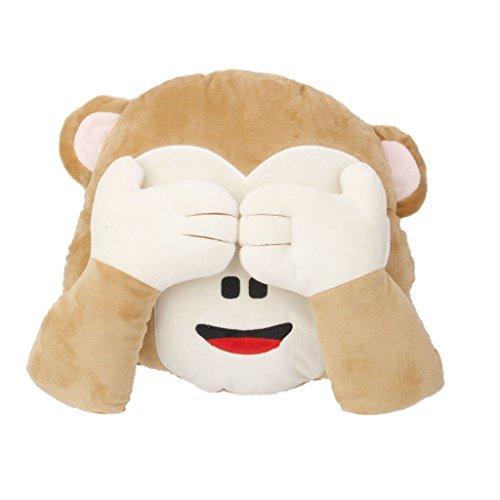 cuscino peluche forma scimmia emoji emoticon occhi coperti decorazioni divano