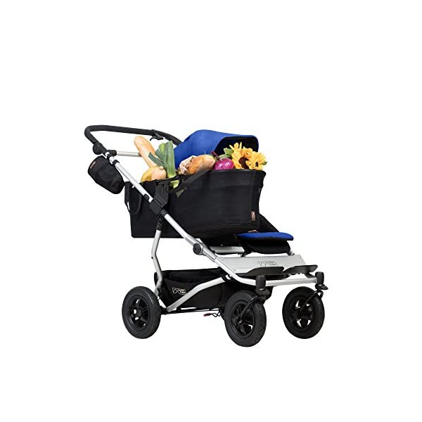 "Mountain Buggy Duet v3 Double Stroller - Marine Mountain Buggy With a wheelbase width of just 63cm/25"": duet is the same width as a single buggy: and fits seamlessly through doorways Hand operated control brake for slowing down: providing additional confidence and superior handling when pushing the extra weight of two Superior compact one hand fold: with automatic frame lock and stand fold 9"