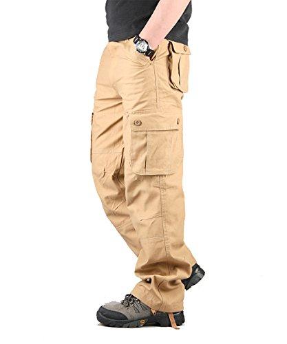 Cargo 52 Hose (Cargohose Herren Arbeitshose Stretch cargo pants loose casual mit Mehrere Tasche Sport,Arbeit,Freizeit Beige 52)