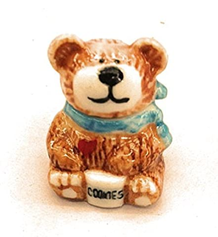 Dollhouse Miniature Cookie Jar Bear in Brown & White by Dollhouse Accessory