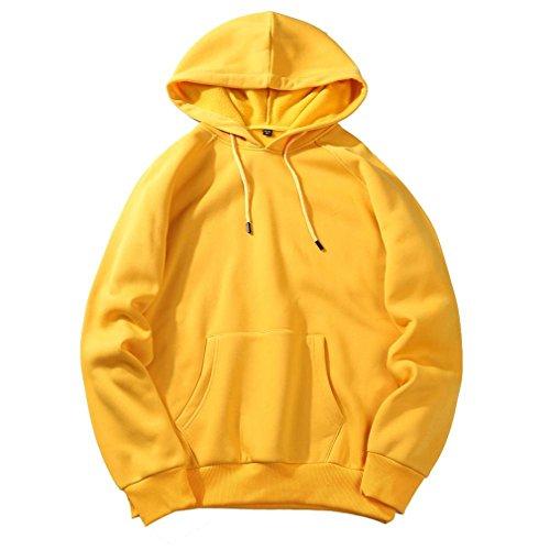 e Hoodies Männlichen Großen Warme Fleece Mantel Männer Hoodies Sweatshirts Yellow XL ()