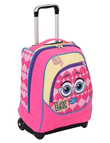 Trolley big - sj faccine - rosa giallo - 31 lt uso zaino - spallacci a scomparsa totale - scuola e viaggio