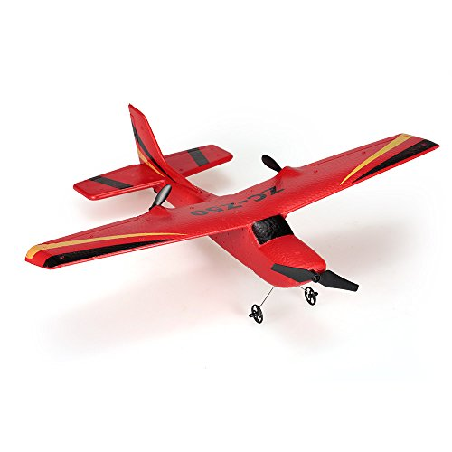 Goolsky Zhi Cheng Juguetes Z50 2.4G 2CH Control Remoto Glider 350mm Envergadura EPP Micro Indoor RC Avión Avión con Giro RTF (Rojo)