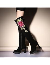 &HZOU Otoño/invierno/bordado/cuero/sobre la rodilla Botas/zapatos/mujeres/nubuck cuero/viento/botas/bordado/mashups , black + red , 37
