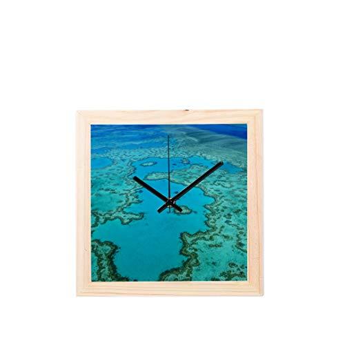 Enhusk Australien Great Barrier Reef Coral Nicht tickt Platz Stille Holz Diamant Große Display Digital Batterie Wanduhren Malerei Zifferblatt Für Küche Kind Schlafzimmer Home Office Decor Luftaufnahmen Anzeigen