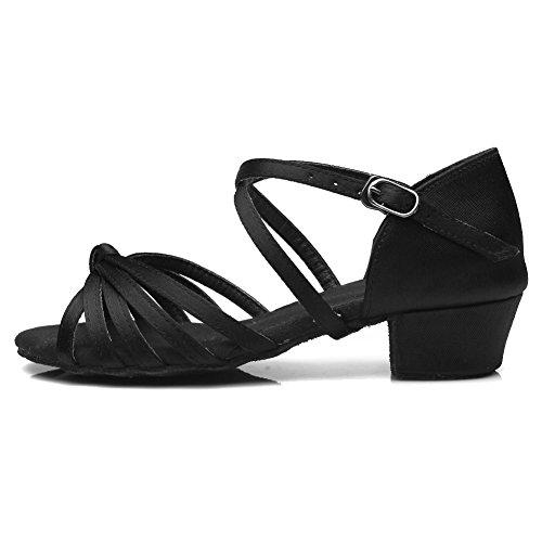 YKXLM Damen & Mädchen Ausgestelltes Tanzschuhe/Standard Ballsaal Latein Dance Schuhe,DE203,Schwarz,EU 34