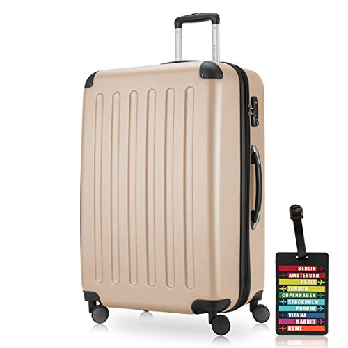 Hauptstadtkoffer - Spree Hartschalen-Koffer-XL Koffer Trolley Rollkoffer Reisekoffer Erweiterbar, 4 Rollen, TSA, 75 cm, 119 Liter, Champagner +Design Kofferanhänger