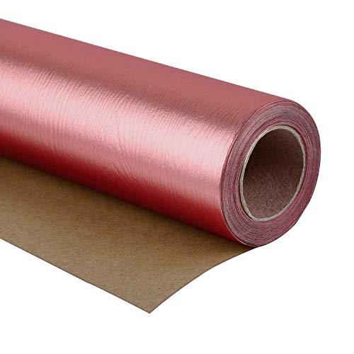 RUSPEPA Geschenkpapierrolle - Premium Eco-Friendly Holzmaserung Basics - Glossy Gold Rose Für Geburtstag, Urlaub, Hochzeit Geschenkpapier - 76 X 500CM - Glossy Rose