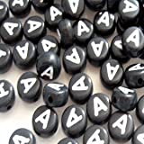 100pièces 6,5mm A Rond Plat Noir, des perles de lettre de l'alphabet–Kb0610