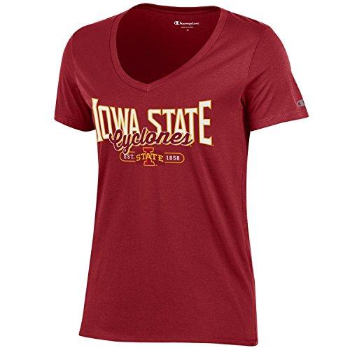 CHAMPION NCAA Damen T-Shirt mit V-Ausschnitt, Damen, NCAA Women's University Basic V-Neck, scharlachrot, Small -