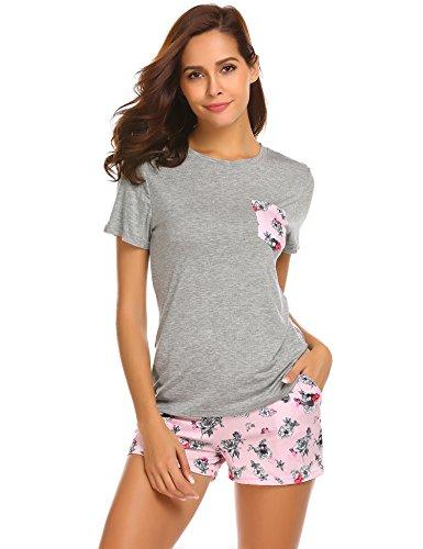 Unibelle pigiama due pezzi pigiami estivi donna collo a u vestaglia ragazza maniche corte con pantalocini nero m