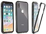 cofi1453 360° Magnet Slim Metall Case Schutz Tasche Handyhülle Handyschale Schutz Schwarz für iPhone XR