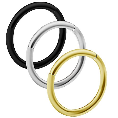 3 Stück 18g (1.0mm) schwarz eloxiert septum segmentring cartilage schmuck nasenpiercing nostril ohrringe helix piercing chirurgischer 316-l-Stahl - 8mm (Piercing Ohrringe 1mm)