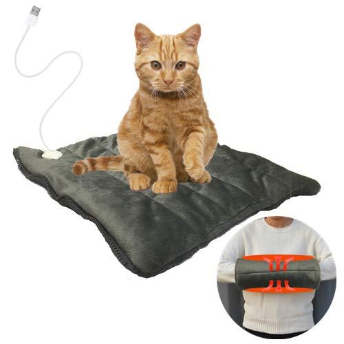 HINGE USB Heizmatte für Katzen und kleine Hunde Haustiere, 24W Wärmematte Weich Haustier Heizkissen,Grau (35cm×35cm)