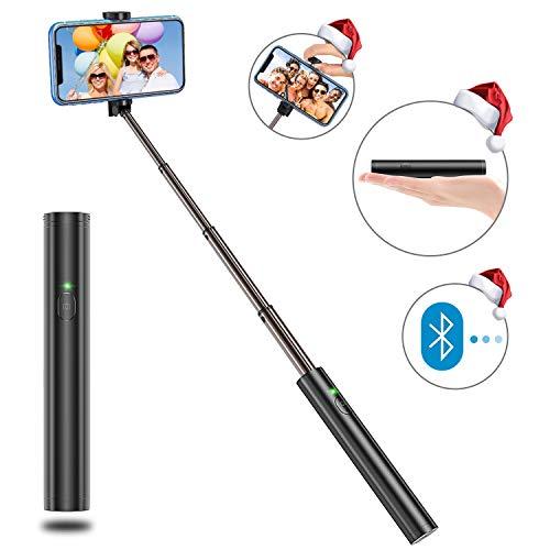 Bovon Perche Selfie, Ultra-Léger Aluminium Tout en Un Bluetooth Selfie Stick Extensible, Bâton Selfie Monopode Compact pour iPhone 11 Pro Max/11/XS Max/XR/XS/X/8, Galaxy S10e/S9/Note 9, Huawei ect