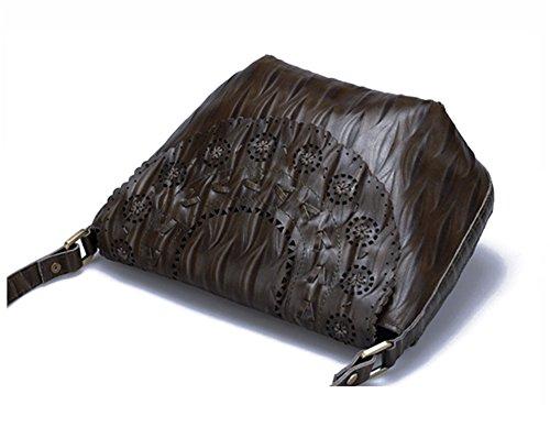 Xinmaoyuan Borse donna borsa donna borsa Messenger personalizzato cava retrò Pelle spalla primo strato di pelle Ruga Tempo libero Verde