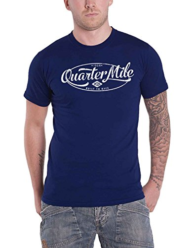 Quarter Mile T Shirt Distressed Oval Logo Nue Offiziell Herren Royal Blau (Logo-t-shirt Ovale)