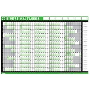financial 2018 2019 fiscal wall planner calendar with pen and adhesive dots 3800