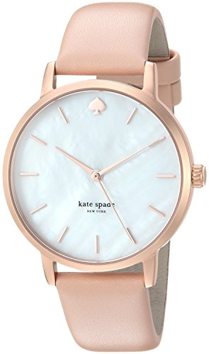 kate spade New York Women's 'Metro' Quartz Stainless Steel and Leather Casual Watch, Color:Beige (Model: KSW1403)