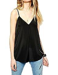 Evidé Fashion Sexy en mousseline de soie sans manches haut Débardeur pour femme, noir, XL