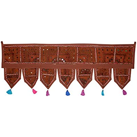 Rajrang Tradicional marrón Algodón trabajo Patch Espejo trabajo Door Valance