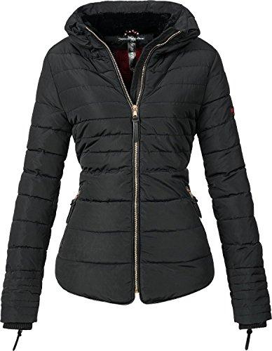 Marikoo Damen Winter Jacke Steppjacke Amber (vegan hergestellt) Schwarz Gr. M