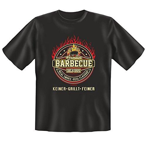 super Outfit am Grill .T-Shirt -Set Farbe : schwarz : BARBECUE......KEINER -GRILLT-FEINER Schwarz
