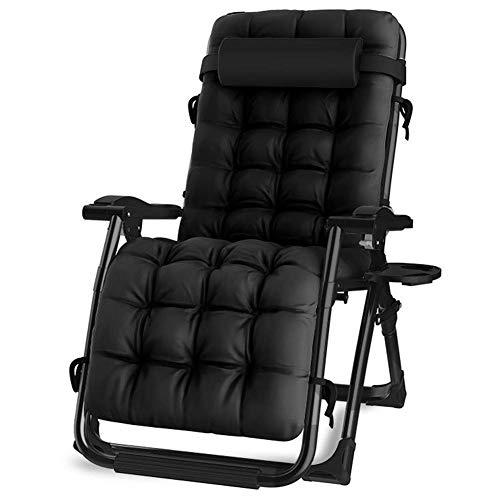 LAZ Übergroße Patio-Stühle Schwerelosigkeits-Aufenthaltsraum-aufgefüllter Stuhl, breite Armlehne-justierbarer Recliner mit Becherhalter, Unterstützung 440lbs (Color : Black)