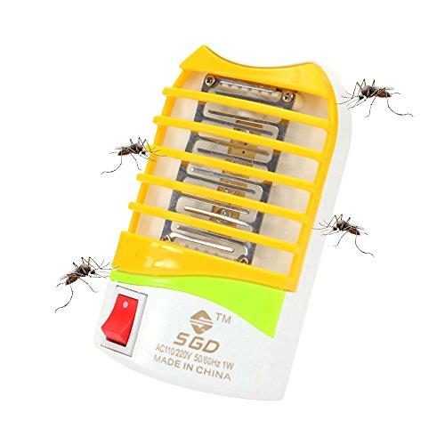 Leegoal (Enchufe UE) Eficiente Mosquito Killer,Lámpara Electrónica Insecto Asesino,Mata Mosquitos con luz Nocturna,Trampa para Insectos,No tóxico/Amarillo