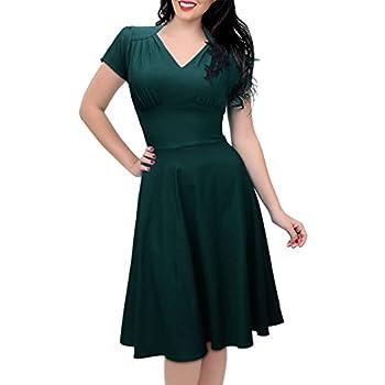 iHAIPI - Damen Kurzärmel Sommerkleid V-Ausschnitt Business Faltenrock Cocktailkleid retro 50er Jahre Kleid (04. EU 42 (Herstellergröße:XL), 01. DunkelGrün)