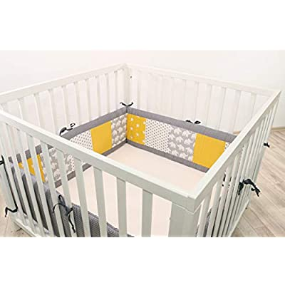 ULLENBOOM® Bumper- Yellow Elephants (400x 30cm Baby playpen Bumper, Full Surround Bumper Pads for 100x 100cm playpen)