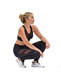 Tongshi Mujer Cintura alta Flaco Las polainas de Patchwork Malla Hacer subir Yoga Pantalones (M)