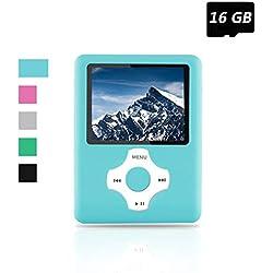 Ueleknight MP3 MP4 Player, Lecteur de Musique numérique Portable/Lecteur vidéo/Lecteur e-Book/visionneuse d'images, avec Lecteur économique de Carte SD de 16 Go - Bleu