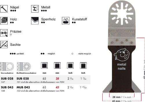 100 E-Cut Sägeblätter SUB 028 long-life Universal 28 mm. ++ preisgünstige Markenqualität ++ Mit Bi Metall Universalverzahnung und Sternaufnahme. Das Profi-Zubehör für Ihr oszillierendes Multifunktionswerkzeug passend für Fein Supercut und Würth EMS. Das Original seit 1997 vom Schweizer Erfinder. Produzierte bisher für den Weltmarktführer. ++ extrem scharf ++ sehr hohe Standzeiten ++