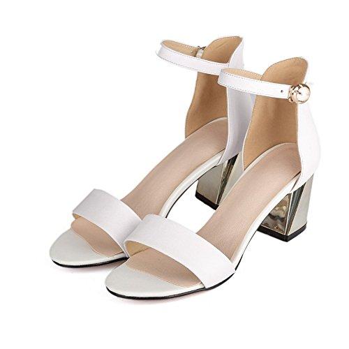 Adee Damen galvanisiert Ferse Schnalle Leder Sandalen Weiß
