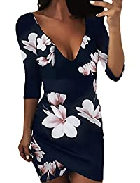 Mini Vestido Mujer Elegante Vestido Verano Mangas 3/4 V Cuello Niñas Ropa Espalda Descubierta Floreadas Cortos…