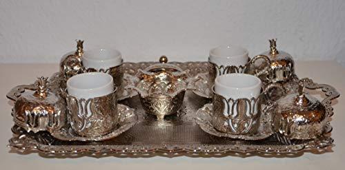 livin'art Orientalischer Mokka-Kaffee Set 19-Teilig mit Tulpendesign, 4 Personen-Set, Mokkaservice,...